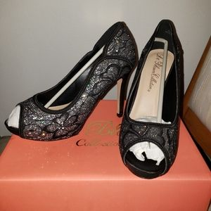 New Black Lace High Heel Open Toe Shoes size 7